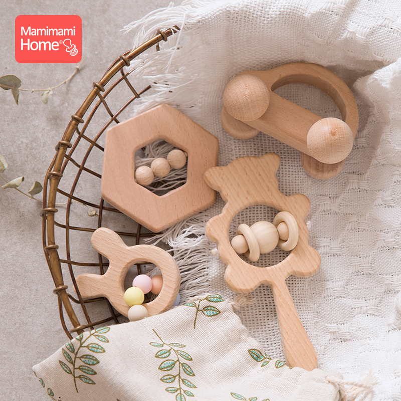 Mamihome 4pc Baby Wooden Toys Rattle Teething Car Toy Natural Beech Ring Beads Animal Wooden Blank Rodent  Children'S Goods Tiny