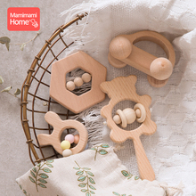 Mamihome 4pc Baby Wooden Toys Rattle Teething Car Toy Natural Beech Ring Beads Animal Blank Rodent  ChildrenS Goods Tiny