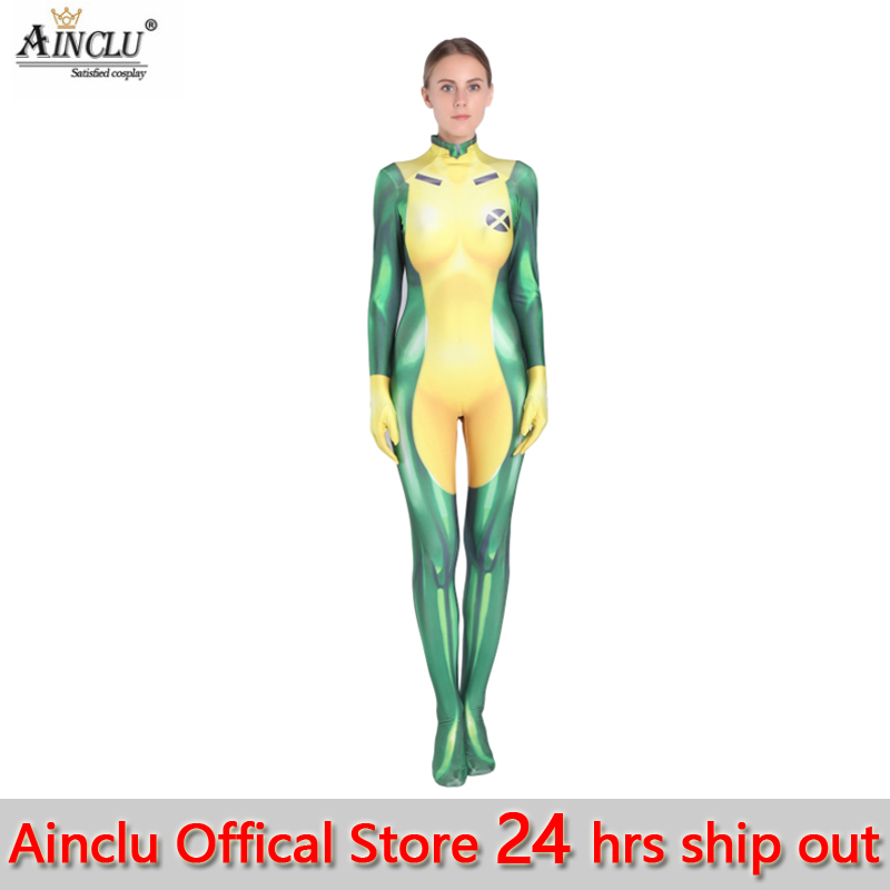 3D Printing X-Men Rogue Cosplay Costume Lycra Spandex Sexy Catsuit Zentai Woman/Girls/Lady Superhero Halloween Xmen Costumes