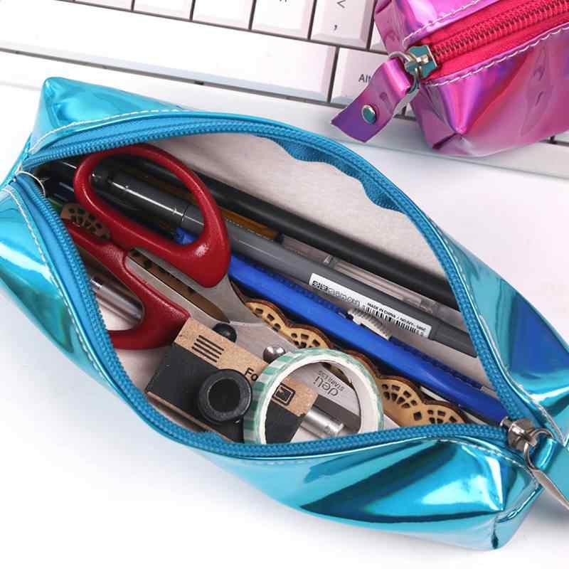 玉虫色レーザー鉛筆ケース品質 PU 学用品文具ギフト鉛筆ケース学校かわいい筆箱学校ツールバッグ