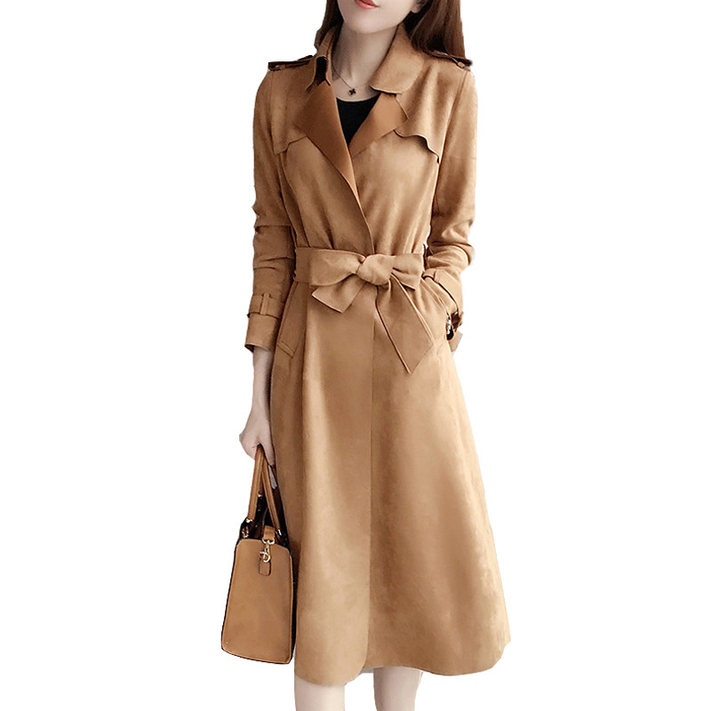 2019 Spring New Women   Trench   Coat Casual Fashion Coat Elegant Slim Solid Lace Up Lapel Long Suede Outerwear Female Windbreaker