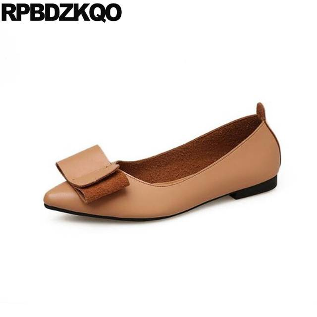 0a6a3a866590 Online Shop China Women Flats Shoes With Little Cute Bowtie Kawaii Slip On  Designer Ladies Lightweight 2018 Chinese Bow Pointed Toe Brown