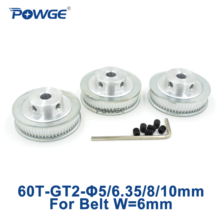 POWGE 3pcs 60 Teeth GT2 Timing Pulley Bore 5mm 6.35mm 8mm 10mm for width 6mm GT2 Synchronous Belt 2GT pulley belt 60Teeth 60T powge 8pcs 20 teeth gt2 timing pulley bore 5mm 6mm 6 35mm 8mm 5meters width 6mm gt2 synchronous 2gt belt 2gt 20teeth 20t