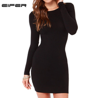 Women Fashion Little Black Dress New 2015 Autumn Sexy Casual Vestidos Long Sleeve Bandage Short Dress