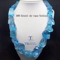 TBJ, 100% Бесплатная ФОРМА натуральный Небесно голубой топаз драгоценный камень neacklace с 925 серебро застежка, Роскошные Большой размеры цепо
