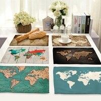 Креативный мир карта жизни 4 шт. набор сервировочные Коврики хлопок, лен, настольные салфетки карта шаблон декоративные салфетки