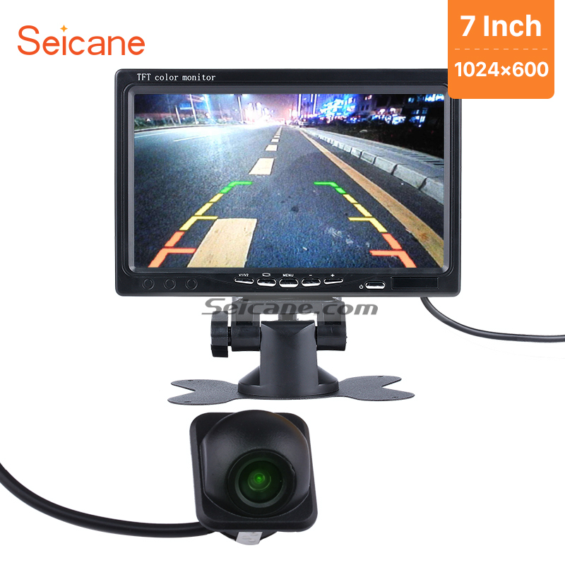 Seicane Universal Car Monitor Auto Parking 1024*600 Video Recoder DVR TFT LCD Display AV with Parking CCD HD Backup Camera free