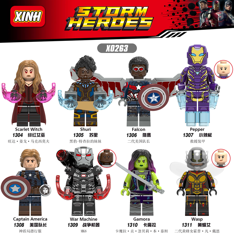 Marvel Avengers Endgame Iron Man Shuri Scarlet Witch Wasp Pepper Captain America Figures Toys Compatible With Lego X0263-in Blocks from Toys & Hobbies
