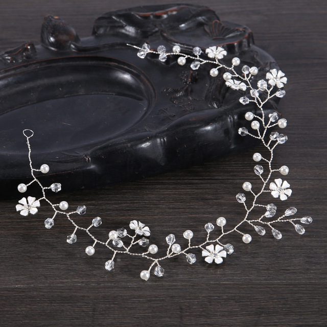 Women Headband Handmade Hair Ornaments Pearl Jewelry Marriage Crystal Decoration Festival Gifts Wedding Party Accessories Gl