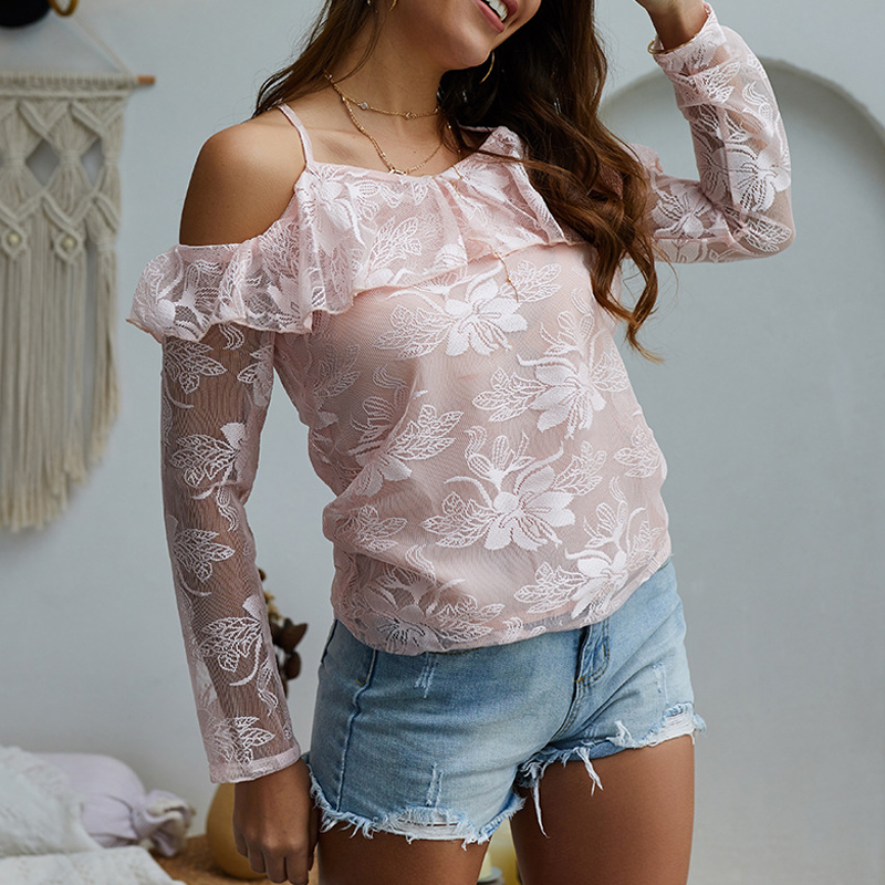 GOPLUS 2019 Pink Ruffles Lace Blouses Women Sexy Strap Off shoulder Long Sleeve Shirts Ladies Tops Elegant Party Blusas Female in Blouses amp Shirts from Women 39 s Clothing