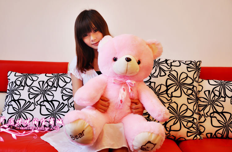 The lovely bow bear doll teddy bear hug bear plush toy doll birthday gift pink bear about 100cm the huge lovely hippo toy plush doll cartoon hippo doll gift toy about 160cm pink
