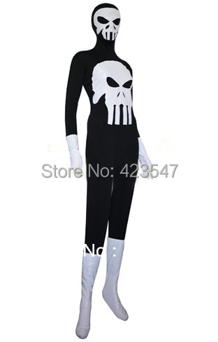 Halloween cospaly black and white lycra zentai punisher costume party