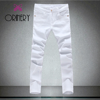 ORINERY Hot Sale White Jeans Men New Designer Skinny Solid Denim Trouser Elastic Pencil Jeans Casual
