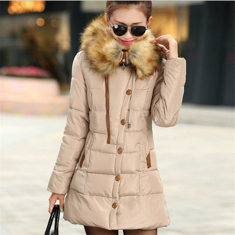 2017New Winter Women Down Cotton Jacket Coat Padded Hooded Large Fur Collar Slim Size L-3XL Four Colors Button Women ParkasCQ154 hooded collar korean new 2014 winter clothing full sleeve solid down jacket slim women casual cotton padded coat ly1066