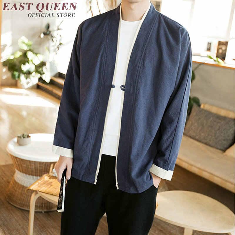 Ropa tradicional china para hombres ropa Wushu uniforme de kungfú camisa China Kimono hombres chaqueta Yukata Haori hombre AA3116 Y