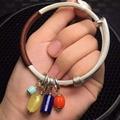 Peso total 30g prata pura cera de abelha natural lapis amaznoite pulseiras pulseiras para as mulheres das mulheres