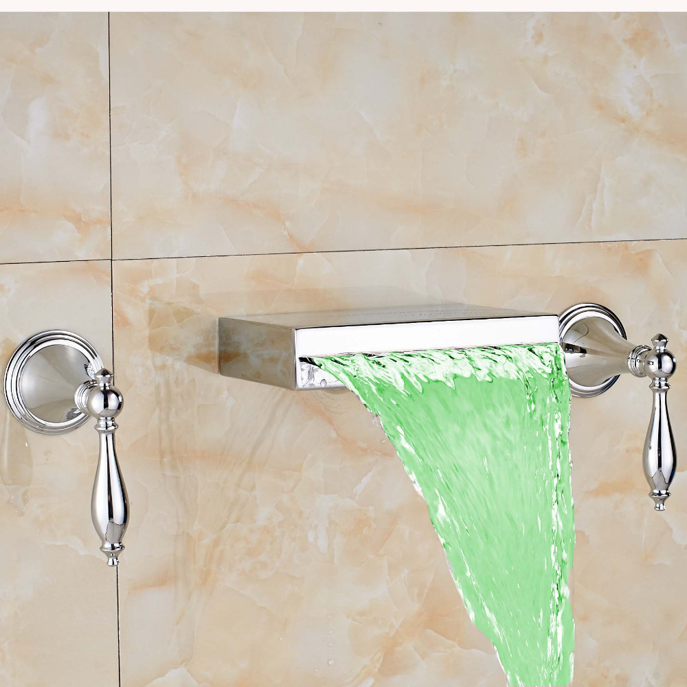 ᗕUythner Newly Waterfall Square Spout LED Color Changing Tub Faucet ...