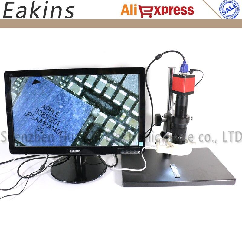 13 МП HDMI VGA промышленный лабораторный видео микроскоп набор камеры + объектив 180X/300X C MOUNT + 56 светодиодных ламп + большая подставка