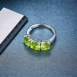 Image 3 - Hutang Wedding Womens Ring 4.2Ct Natural Peridot 925 Sterling Silver Rings Green Gemstone Fine Elegant Classic Jewelry for Gift