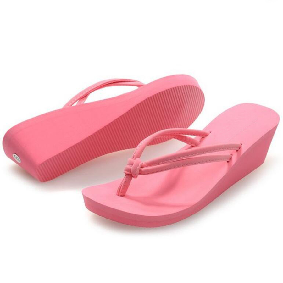 4d7fdeb0bbe007 Pu Rubber Slip on Casual Plain Fashion Sandals Shoes Beach Flat Wedge Flip  Flops Lady Slippers Women 2018 summer style-in Flip Flops from Shoes on ...