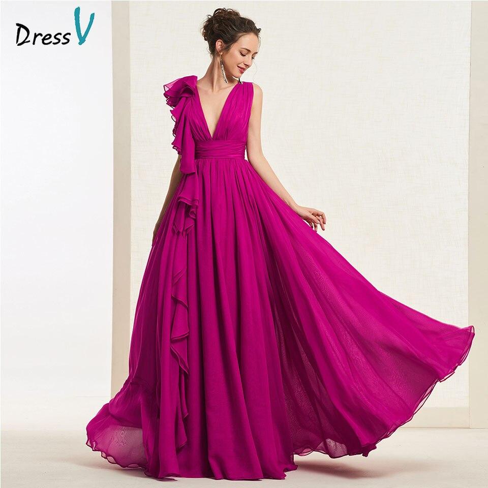 Dressv Dark Plum Long Prom Dress V Neck Ruffles A Line Simple Zipper Up Floor Length Evening Party Gown Prom Dresses