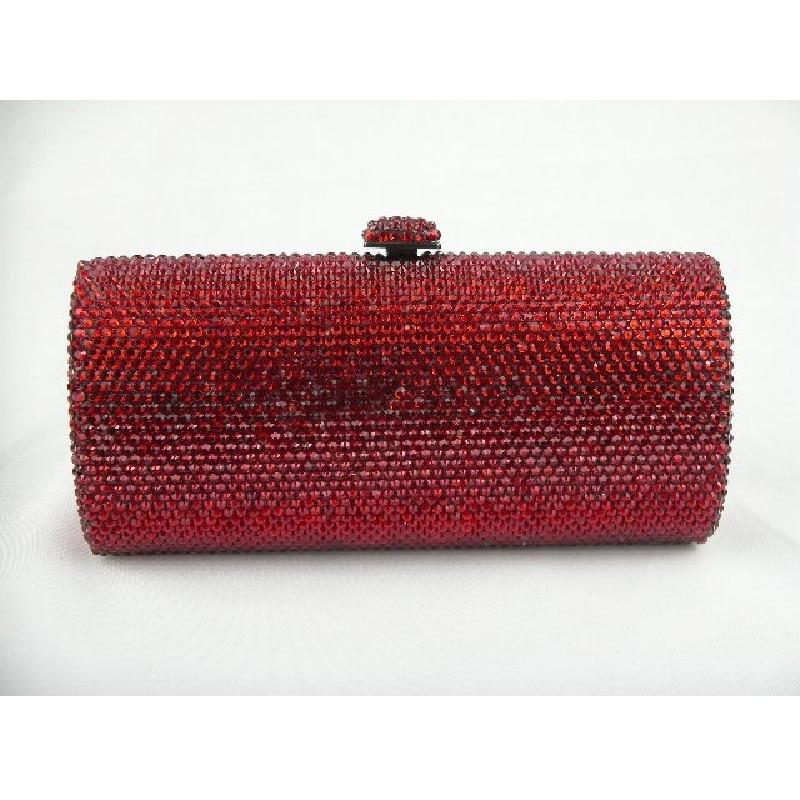 ФОТО L7703R Ruby Crystal Lady Fashion Bridal Party Metal Evening purse handbag clutch bag box case