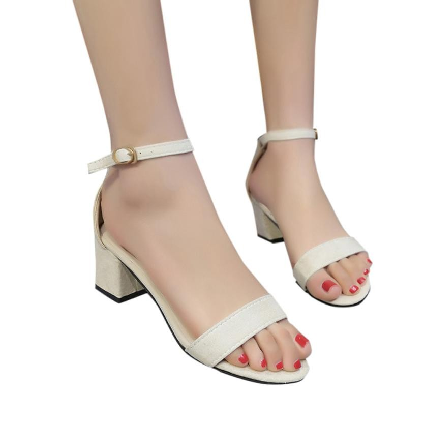 073b40e261bacd Fashion Women Ladies Sandals Ankle Strap Mid Heels Block Party Dress Open  Toe Shoes Sandalia Feminina