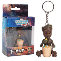 Original baby groot maceta action figure Key button model toys With independent packaging kids gifts Home Decoration