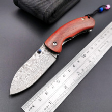 Tactical Pocket Folding Knife Damascus Blade Rosewood Handle Outdoor Camping Survival Diving Knive Hunting High Quality EDC Tool