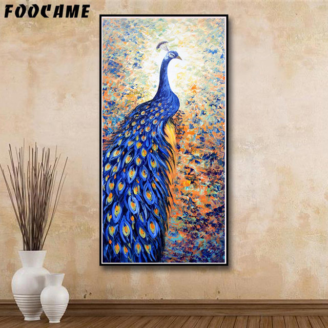 foocame animal bleu paon illustration affiches et gravures art toile peinture moderne home decor. Black Bedroom Furniture Sets. Home Design Ideas