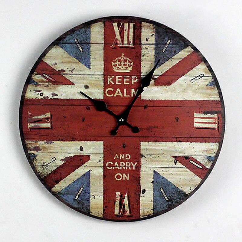 zakka nostalgia stile britannico bandiera britannica orologio da parete in legno cucina elettronica grandi orologi da