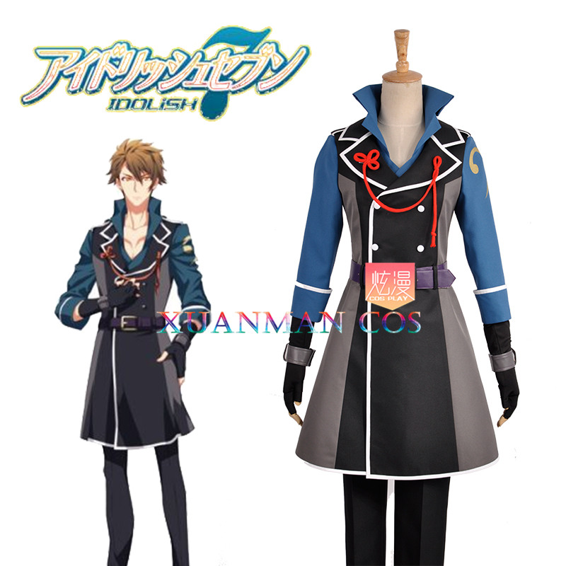 W0946 Tsunashi Ryunosuke Cosplay Costume Trigger Group IDOLiSH7 Custom Made Long Vest Pants Military Uniform with Sashes Tie