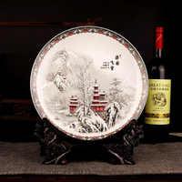 Jingdezhen plaque en céramique accrocher plat plat Style traditionnel porcelaine plaque décorative métope pour salon hôtel