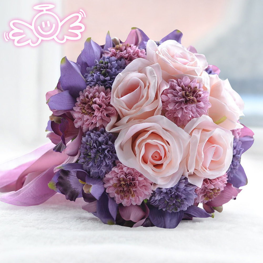 Customized wedding artificial flowers purple rose romantic for Artificial flowers for wedding decoration