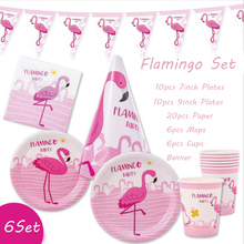 Flamingo Disposable Party Tableware Set Cartoon Pink Decor Plates Cups Paper Valentine Decoration Supplies