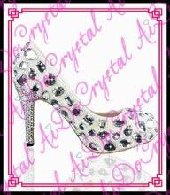 Aidocrystal hand gemacht glänzendem weiß kristall und perle damen high heels 10 cm high heel brautschuhe hochzeit schuhe