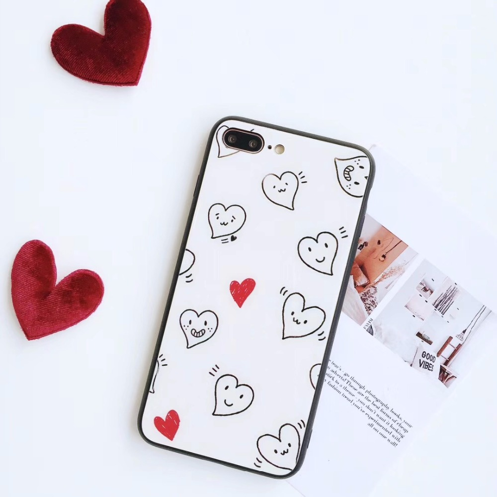 KJYKJ Luxury Case For iPhone X Coque Glossy love heart smileTPU & Tempered Glass Back Cover With iphone7plus 8 6S 6plus