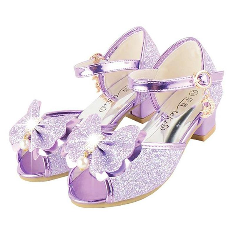 HaoChengJiaDe 2018 Children Princess Glitter Sandals Kids Girls Wedding Shoes Square Heels Dress Shoes Party Shoes Purple/gold girls pearl beading rhinestone sandals princess square heel pointed toe dress shoes children wedding party formal shoes aa51329
