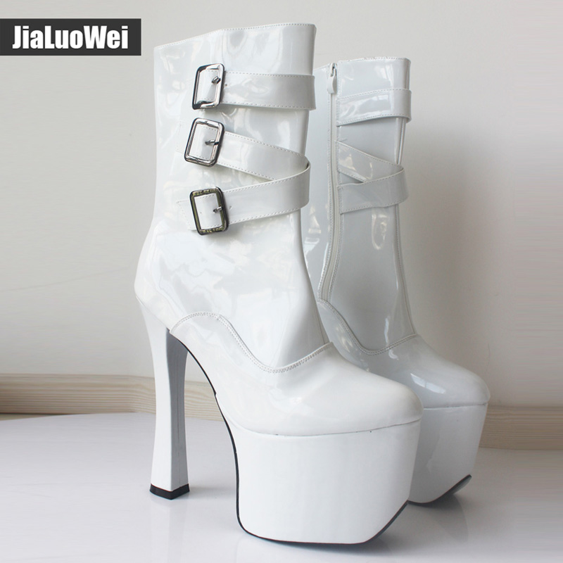 Jialuowei 20cm Extreme High Heel Women 9cm Platform Sexy Buckle Zipper Square Heel Sapatos Femininos Round Toe Mid-Calf Boots