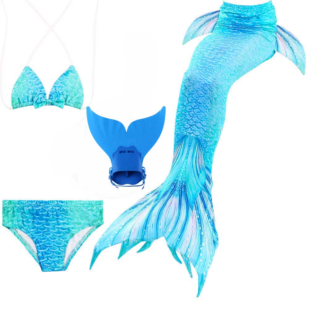 Girls Swimming Bikini Suit With The Shark Mermaid Tail Children's Kids Mermaid Tail Swim Bath Suit Cosplay With Fin