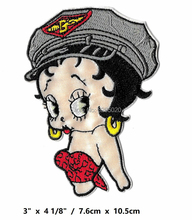 "4 ""Betty Boop 공군 영화 TV 쇼 시리즈 의류에 대한 패치 배지에 수 놓은 아이언 어린이 daycartoon girls"