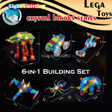 Self-Assembled 6-IN-1 Electronic Light up crystal Building Blocks Science Educational Brick Constructor Model kit Toys,6 sets