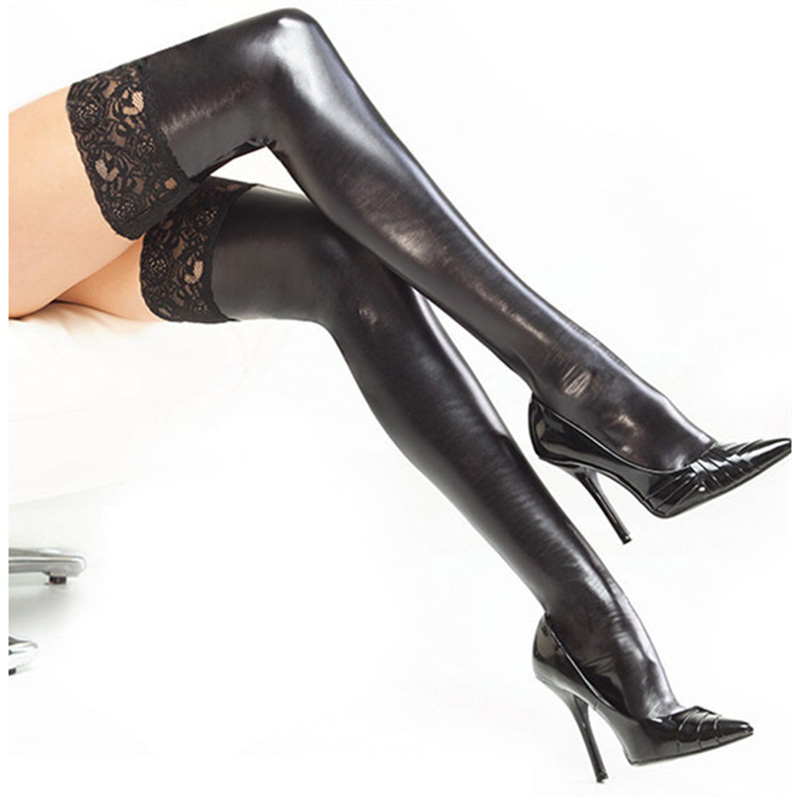 Women's 3 Colors Sexy Faux Leather Wet Look Stockings Costume Thigh High Stay Up For Clubwear Strip