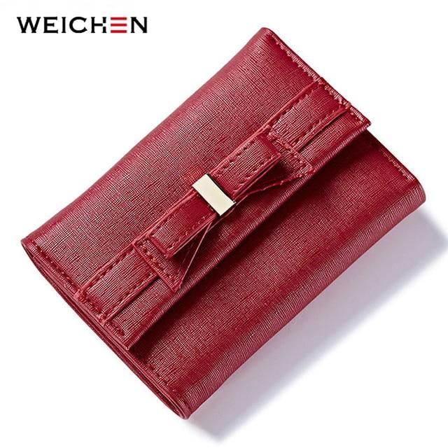 87a1a16da8b67 WEICHEN yay tasarım bayanlar cüzdan deri üç katlı kadın kısa çanta marka kadın  fermuarlı cüzdan sikke