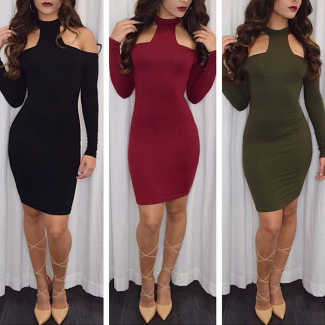 ae790754187 women long sleeve winter warm bandage dress fashion women s black sexy club  bodycon dresses hollow out vintage slim dress