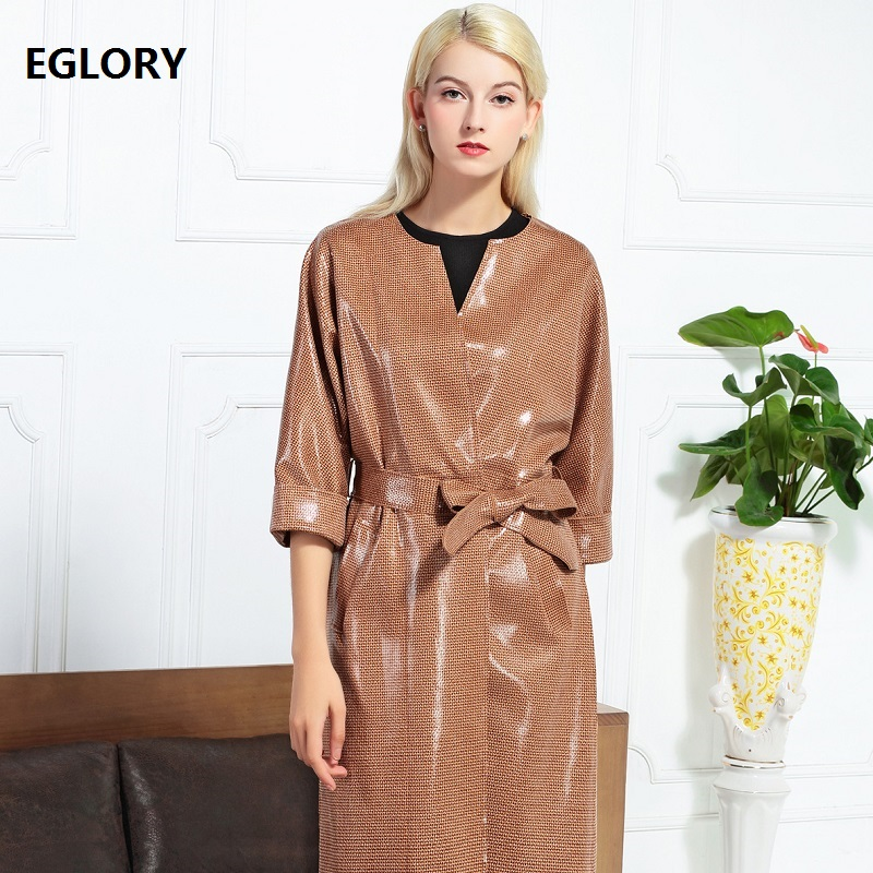 New 2018 Autumn Winter Long Trench Coat Women High Quality Shine Suede Leather Coat Cardigan Outwear Female Casual Windbreaker