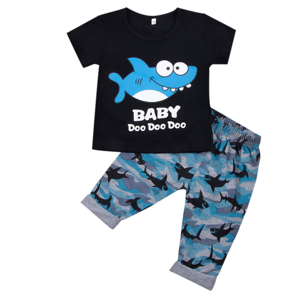 Autumn Kids Outfits Shirt Camouflage-Pants Printed Toddler Baby Boy Cartoon Tops Tops