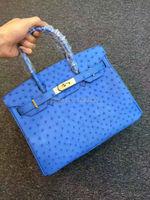 100% Genuine Ostrich Leather Skin Women Tote Handbag, High end Quality ostrich skin Handbag handmade skilled handbag blue red