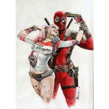"Full Quadrado/Rodada Broca 5D DIY Pintura Diamante ""Deadpool & HARLEY QUINN"" Bordado Ponto Cruz Strass Mosaico decor FZ820(China)"