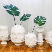 Vaso de cerâmica de rosto criativo  flores artificiais  vaso branco decorativo decoração nórdica para casa